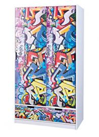 Graffiti 7 Wardrobe 2 sliding doors + 2 drawers. DIM. 97,2x53,1x180H. Solid pine. Patchwork. Article in kit