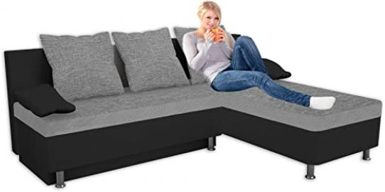"VCM ""Stylosa"" Leatherette Corner Sofa/Couch with Sleeping Function, Schwarz"