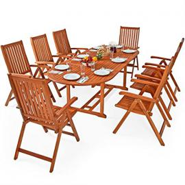 "Wooden Garden Furniture Set Patio 8 Seater Dining Table and Chairs Set ""Moreno"" Outdoor Living Folding Eucalyptus Wood"
