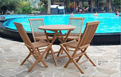 80cm Round Solid Teak Wood Folding Table & 4 Chairs Durable Set Outdoor Patio Garden Furniture Wooden Sets Made in Indonesia (80cm Round Set)