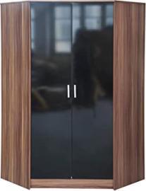 High Gloss 2 Door Corner Wardrobe Only Black/Walnut 8 Shelves + 2 Hanging Rails