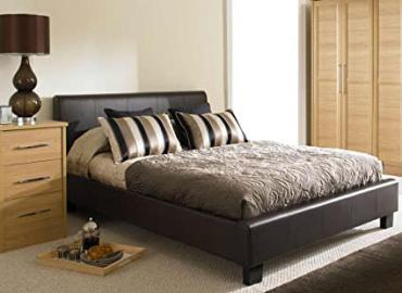 BROWN FAUX 4ft 6 LEATHER MODERN DOUBLE SIZE BED FRAME AND 1200 COUNT POCKET SPRUNG MEMORY FOAM MATTRESS