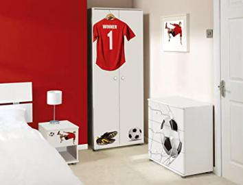 Red Football Design Childrens/Kids White Bedroom Furniture Sets