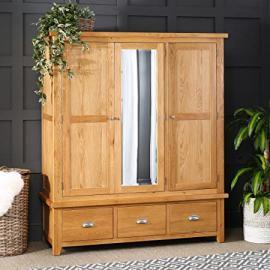 Cheshire Oak Triple 3 Door Mirrored Wardrobe with 3 Drawers