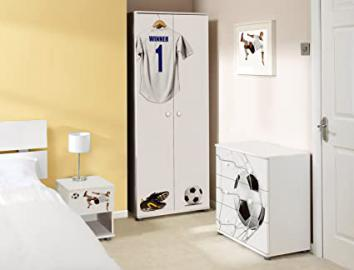 White Football Design Childrens/Kids White Bedroom Furniture Set