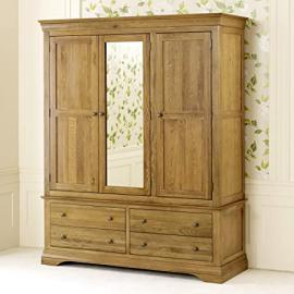 French Louis Oak Triple Wardrobe With Mirror