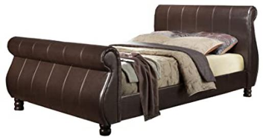 Birlea Marseille Sleigh Bed - Faux Leather, Brown, King Size
