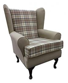 Biscuit 2 tone Tartan Fabric Queen Anne Chair wing back fireside high back chair. Ideal bedroom or living room furniture