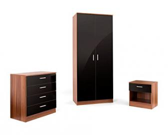 Aspire Home 3-Piece Bedroom Set with High Gloss, Black Gloss/Walnut