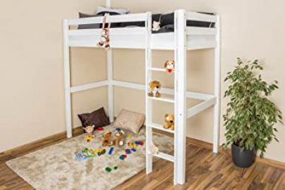 High Sleeper Bed Robert, solid beech wood, white painted, incl. slatted frame - 90 x 200 cm