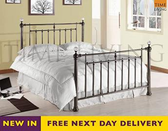 Time Living Alexander Crystal 5ft Black Nickel King Size Bed Bed Frame Only