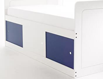Captains Bed Narrow in White with 3 Sliding Doors (2 x Blue/1 x White). Made In The UK.