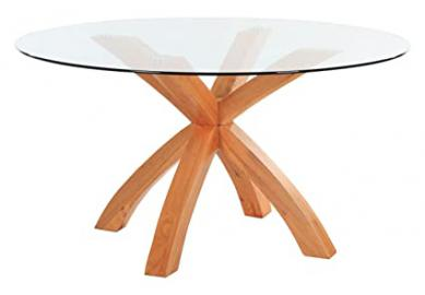 Yakoe Oporto Round Tempered Top Solid Base Dining Table, Glass, Oak