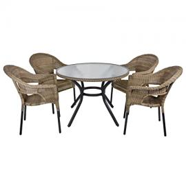 Havana Rattan Wicker Dining 4-Seat Garden Patio Furniture Table & Chairs Set