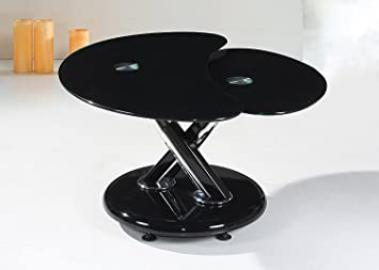 Torre Black Coffee Table Black Base and Black Glass