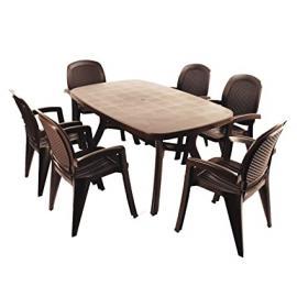 EUROPA LEISURE NARDI ZN/CT165P-06CCTW Toscana 165 Plain with 6 Creta Wicker Chair Set - Coffee
