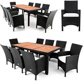 Rattan Garden Furniture Dining Table Set - 8 Seater - Acacia Wood Table Plate 7cm Cushion - Outdoor Conservatory Table and Chairs Set