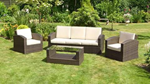 Grenada 3 Seat Sofa Set - 5 Seater Garden Furniture Set - Sofa Set - Outdoor Patio Table and Chair Set