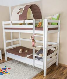 Bunk bed Linus, convertible, solid beech wood, white painted, incl. slatted frame - 90 x 200 cm