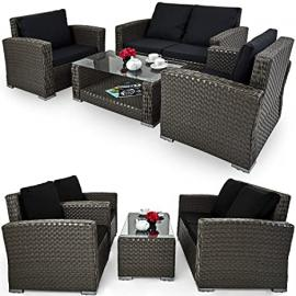 Rattan Garden Furniture Set Outdoor Patio Conservatory Table and Chairs Set Grey - Clearance Sale