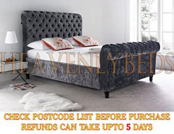 InteriorWorld@ Scroll Studded Sleigh Bed Frame Crushed Velvet or Chenille Double King Super Size 4'6 5'0 6'0 (4'6 Double, Charcoal Chenille (Dark Grey))