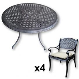 Lazy Susan Furniture - Lily 120 cm Round 4 Seater Cast Aluminium Garden Set - Antique Bronze (Kate chairs, Stone cushions)