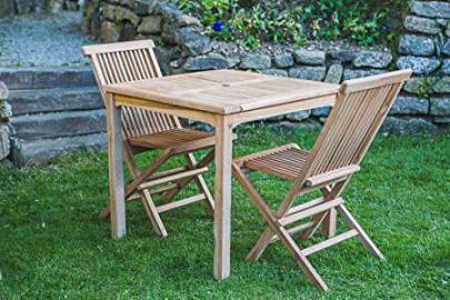 Square Solid Teak 80cm Fixed Table 2 Seater Garden Table and Chair Set