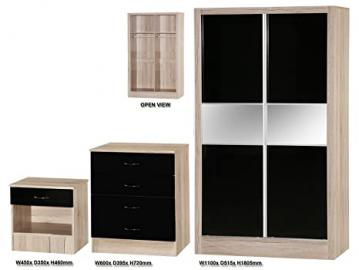Alpha Black High Gloss and Sanremo Oak Effect Slider Set, Wood, Multi-Colour, 3 Piece