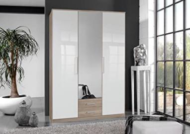 Germanica BREMEN 3 Door 1 mirror Bedroom Wardrobe With Drawer Storge in WHITE & OAK Colour