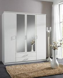 German Berlin White 4 Door Mirror Door Wardrobe