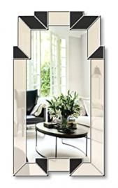 Art Deco Wall Mirror - Biba in Cream & Black