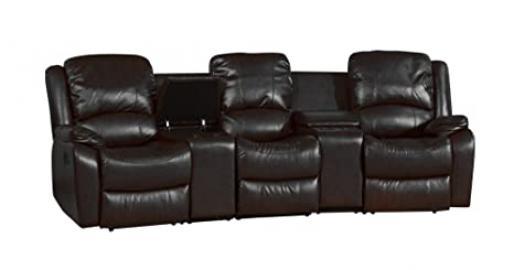 Sofa Collection Brand New Valencia Luxury Recliner Cinema Corner Sofa, Leather, Black, 95 x 300 x 104 cm