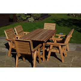 Wooden Garden Furniture / Patio Set 6 Chairs, 6ft Table High Back Roll Top