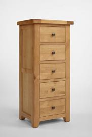 Rustic Grange Devon Oak 5 Drawer Wellington