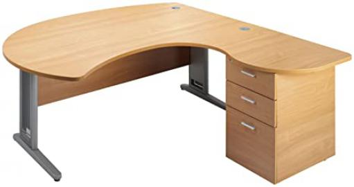 London Largo R/Hand Executive Desk and Ped - Oak 72518001350