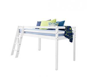 Cabin Bed & Mattress Mid Sleeper Bunk WHITE 57NT- WG+MATTRESS