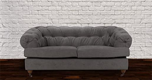 Lovesofas New Mayfair Chesterfield 2 Seater Linen Sofa - Light Grey