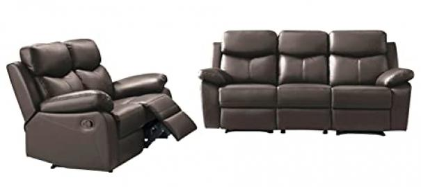 SWS Whitney Modular Sofa Set, Leather, Dark Brown, Set of 2