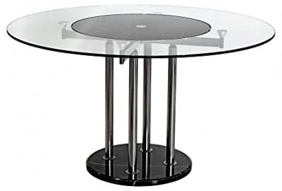 Febland Lazy Susan Dining Table, Glass, Black/Clear, 2-Piece