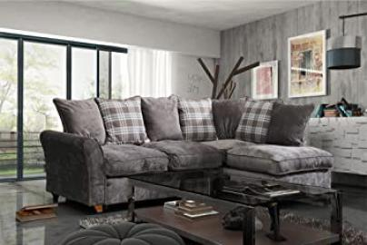 Lovesofas New Jasper Fabric Corner Sofa with Scatter Cushions - Nutmeg (Right Chaise)