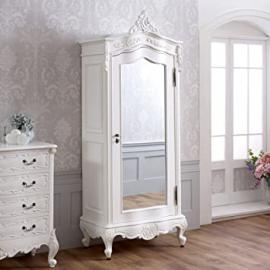 French Chateau White Painted Small 1 Door Mirrored Armoire