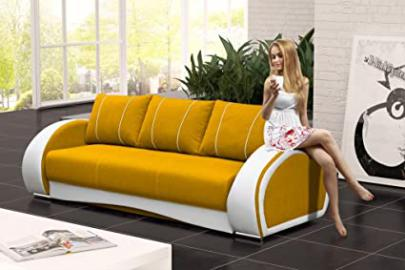 CHER Sofa Bed * Brand New * Modern Design * YELLOW AND WHITE