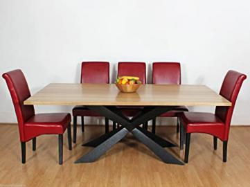 Large Georgio Modern Chic Rustic Metal & Wood Dining Table 8 10 12 Seater (8 Chairs, Red)