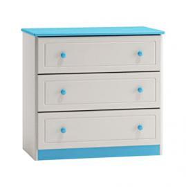 Dresser solid pine wood white blue 006 - Dimensions 78 x 80 x 47 cm (H x B x T)