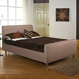 "Hf4You 2Ft6 Small Single Fabric Upholstered Bedstead - Wholemeal - 6"" Memory Foam Mattress"