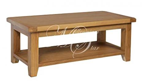 SOLID CHUNKY WOOD RUSTIC OAK LARGE COFFEE TABLE WITH SHELF