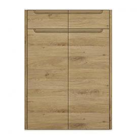 Furniture To Go Gobi 2-Door 2-Drawer Cupboard, 85.9 x 120.1 x 40 cm, Shetland Oak/White High Gloss