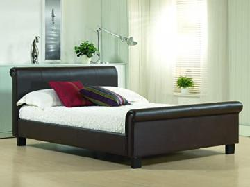 New 4ft6 Double Brown Modern Real Genuine Leather Sleigh Scroll Bed Frame RRP £499
