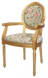 LOUIS ANTIQUE STYLE FRENCH ROUND BACK ARMCHAIR GOLD GREEN FLORAL SHABBY CHIC