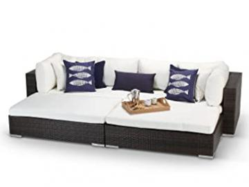 Tuscany Outdoor Brown Rattan Wicker Weave Modular Garden Daybed Sofa Set – Fully Assembled